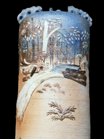 road to Lina's - Australian Chinese Vase 1982 - wood fired coiled pot. w/ sprigged design.