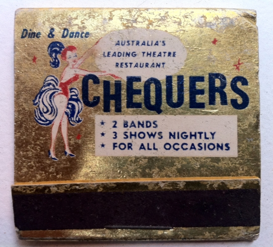 Chequers Nightclub Sydney late 50's to early 70's