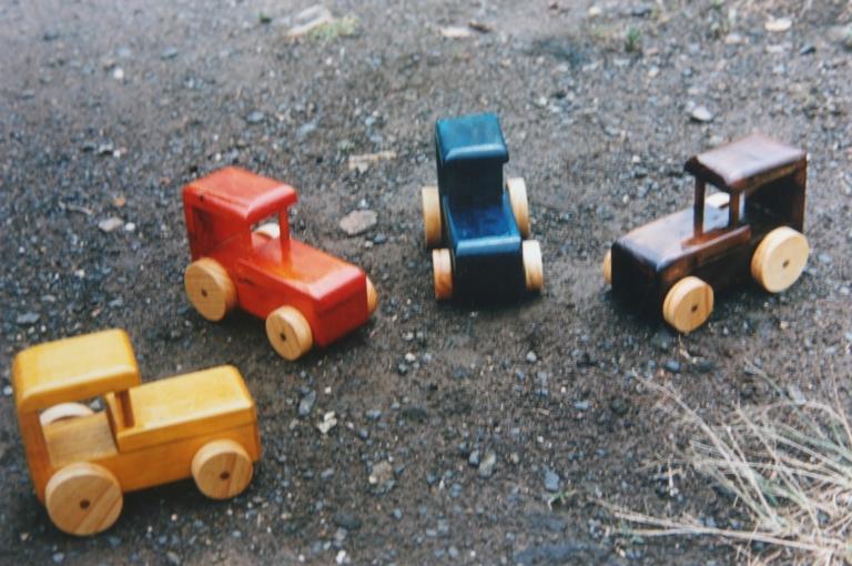 4 x wooden tractors 1988